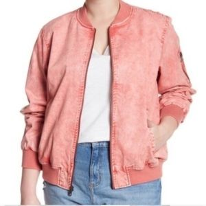 NWT Levi's Washed Denim Bomber Jacket in Coral